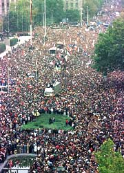 Millions filled the streets and overthrew the dictator of Serbia, Slobodan Milosevic
